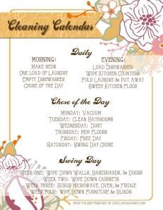 Cleaing Calendar